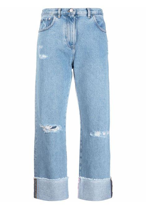 Jeans a vita alta crop in blu - donna GCDS | CC94W03145055