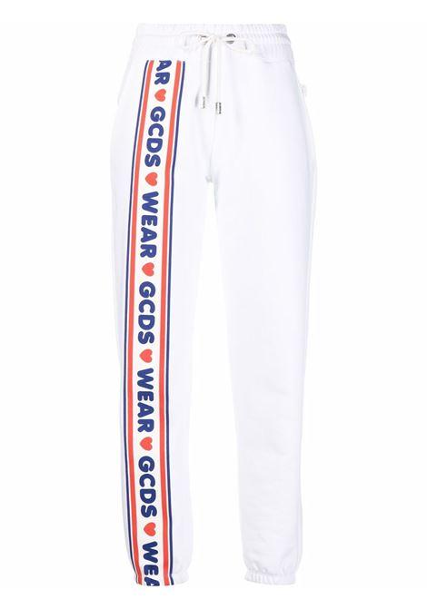 Pantaloni sportivi con logo in bianco, blu e rosso - donna GCDS | CC94W03145601