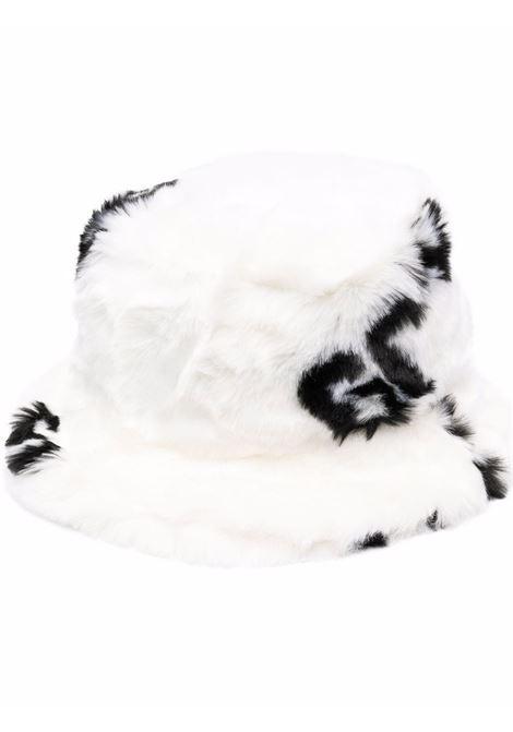 Cappello bucket in eco pelliccia in bianco e nero - uomo GCDS | FW22M01003101