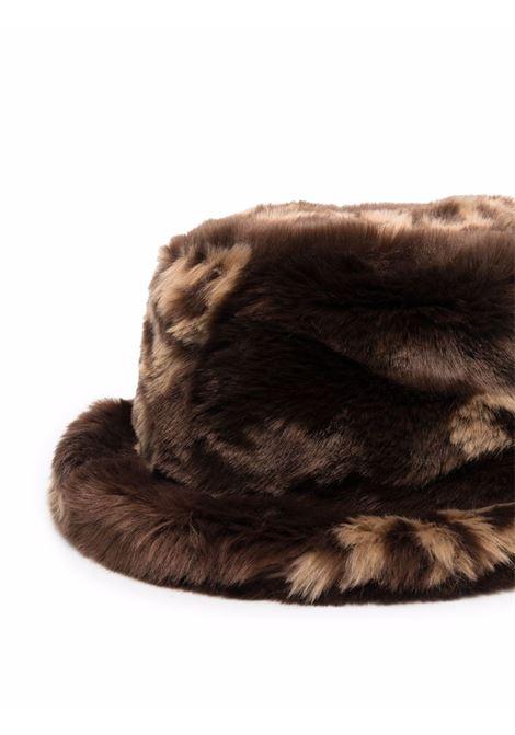 Cappello bucket in eco pelliccia in marrone - uomo GCDS | FW22M01003114