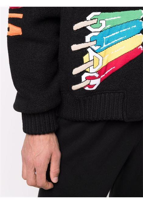 Black graphic logo-print bomber jacket - men  GCDS | FW22M04010202
