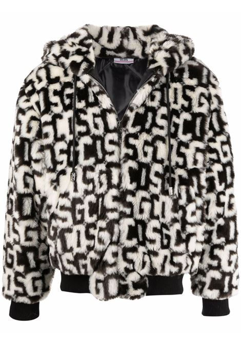 Faux fur hooded jacket in black and white - men  GCDS | FW22M04010902