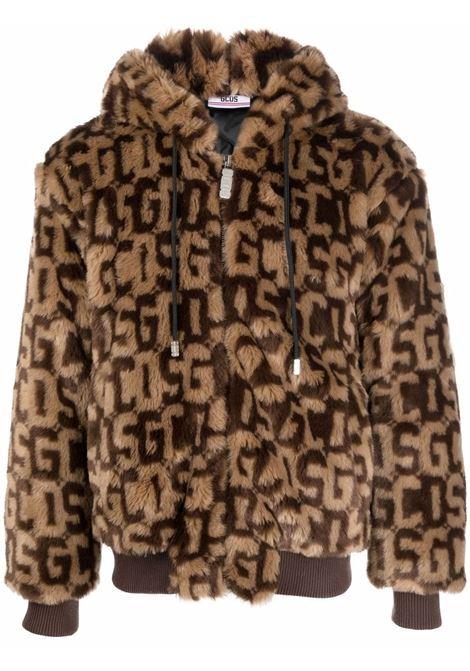Faux fur hooded jacket in brown - men  GCDS | FW22M04010904