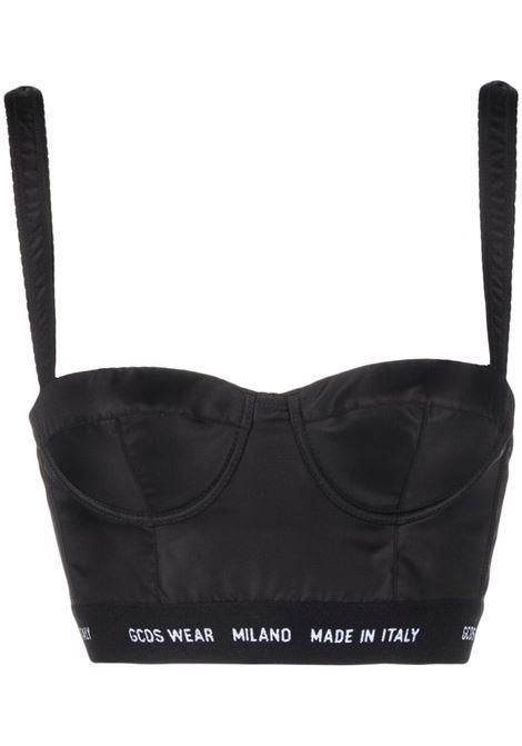 Top a corsetto con logo in nero - donna GCDS | FW22W01010302