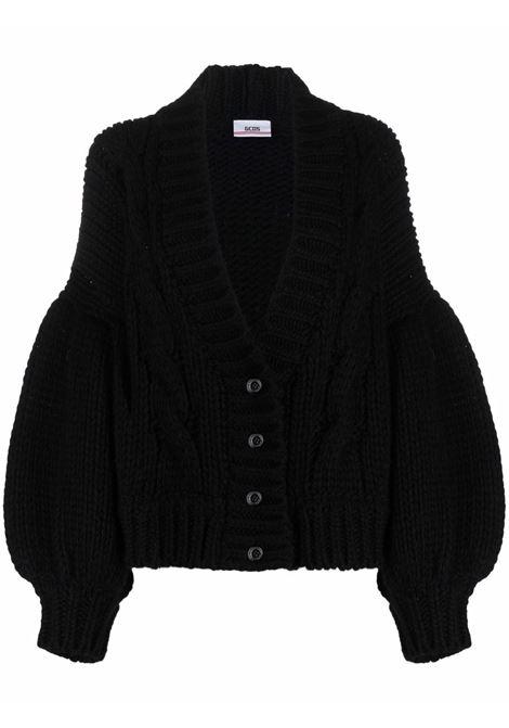 Cardigan in maglia con maniche a palloncino in nero - donna GCDS | FW22W02001602
