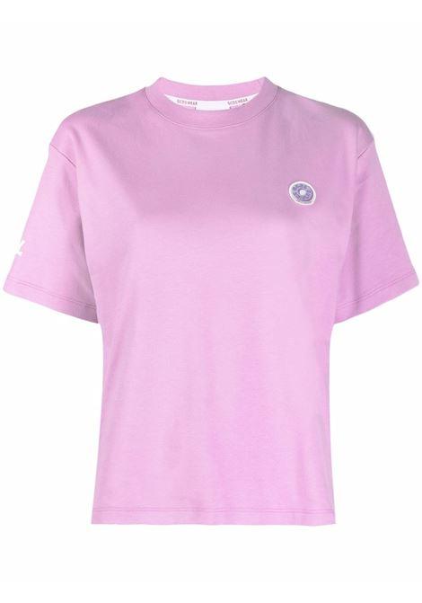 T-shirt con logo in viola - donna GCDS | FW22W02006462