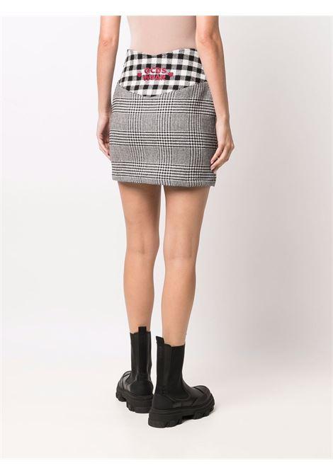 Minigonna aderente a quadri in bianco, nero e rosso- donna GCDS | FW22W03002202