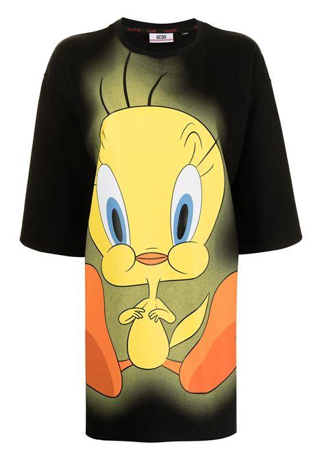 Abito modello T-shirt con stampa in nero e multicolore - donna GCDS | WB22W02001602