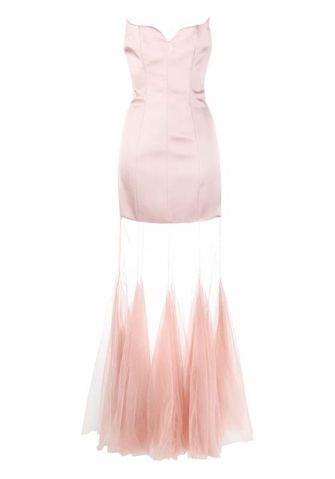 Pink sheer-panelled strapless dress - women  GIUSEPPE DI MORABITO   068LD10932