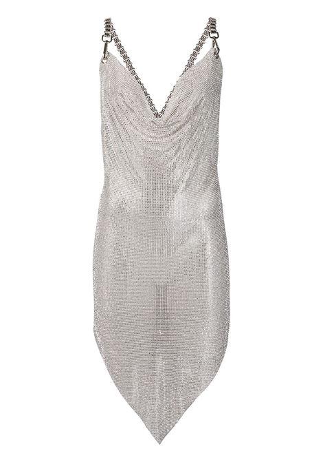 Silver asymmetric midi dress in mesh - women   GIUSEPPE DI MORABITO   138DR13411