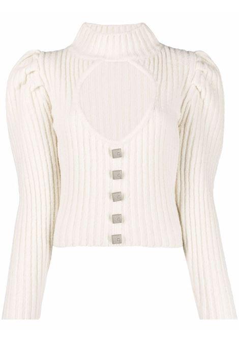 Maglione con maniche a sbuffo e dettagli cut-out beige - donna GIUSEPPE DI MORABITO | PF21086KN14402