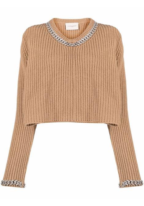 Maglione con rifiniture a catena beige - donna GIUSEPPE DI MORABITO | PF21091KN14605