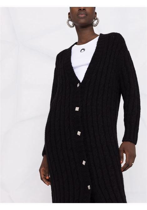 Black V-neck knitted cardi-coat - women  GIUSEPPE DI MORABITO   103KN14310