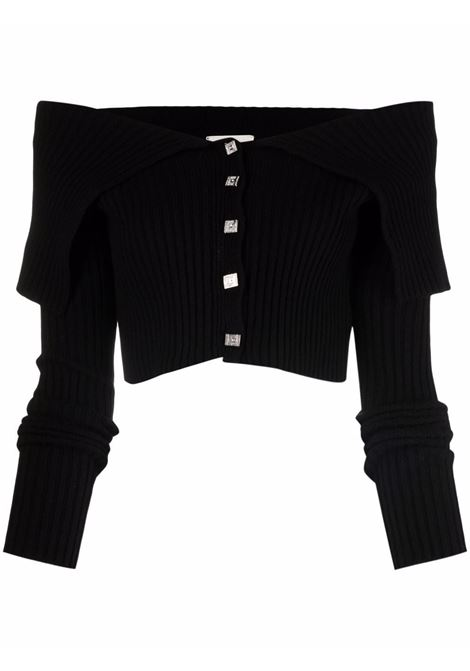 Off-shoulder ribbed jumper in black - women GIUSEPPE DI MORABITO | PF21109KN14610