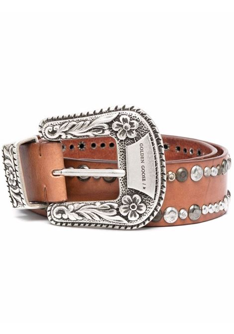 Stud-embellished leather belt in brown - women GOLDEN GOOSE   GWA00179A00013755312