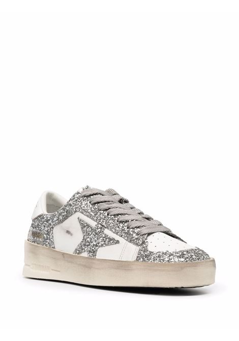 Sneakers Stardan con glitter in bianco e argento - donna GOLDEN GOOSE | GWF00128F00218580185