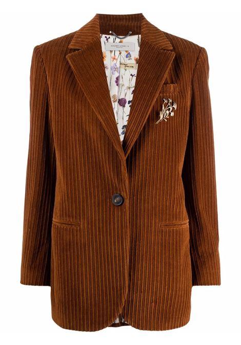 Gingerbread-brown single-breasted corduroy blazer - women   GOLDEN GOOSE | GWP00577P00053755238