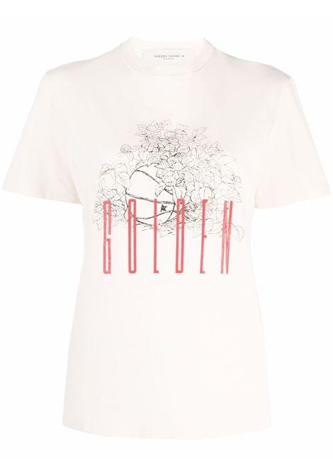 T-shirt a fiori in bianco, nero e rosso - Donna GOLDEN GOOSE | GWP01000P00057910826