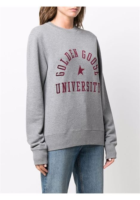 Felpa girocollo con stampa in grigio e rosso - Donna GOLDEN GOOSE | GWP01007P00037160314