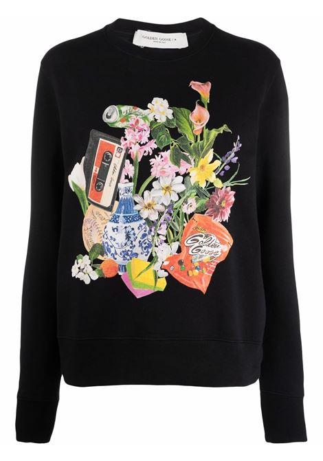 Black graphic-print long-sleeve sweatshirt - women  GOLDEN GOOSE | GWP01009P00045090197