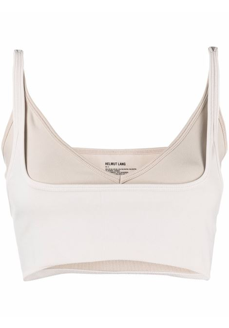 White and beige layered detachable-strap crop-top - women  HELMUT LANG | L04HW5040CG