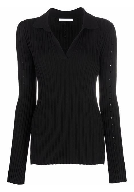 Maglione con colletto stile polo in nero - donna HELMUT LANG   L04HW712001