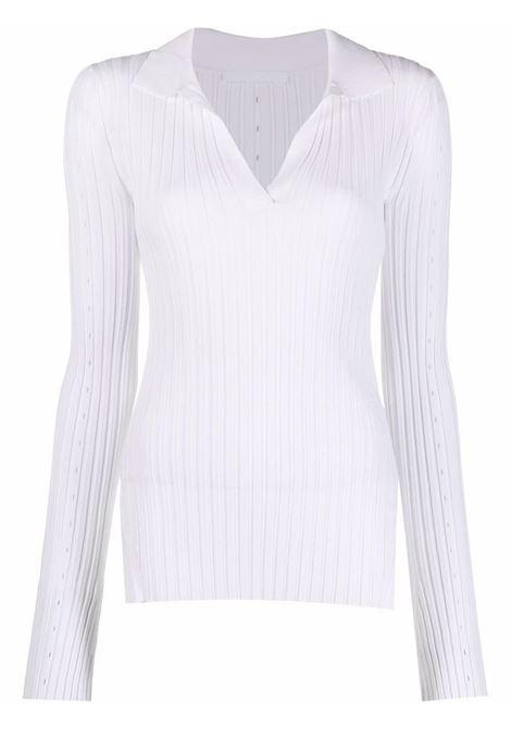 Maglione con colletto stile polo in bianco - donna HELMUT LANG   L04HW712QB9
