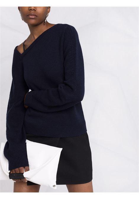 Asymmetrical-neck wool-cashmere jumper in blue - women  HELMUT LANG | L05HW701G0C