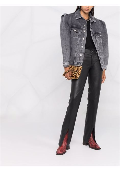Structured-shoulder denim jacket in grey - women  IRO | 21WWP07CHIGNYGRY0921W