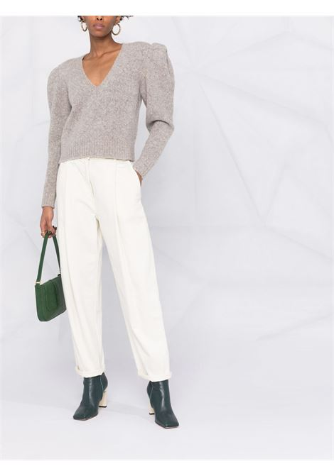 Puff-sleeve knitted jumper in beige - women  IRO | 21WWP12OVERBEI08