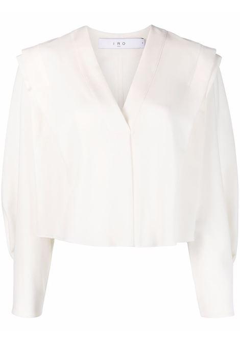 Cropped V-neck blouse in white - women  IRO   21WWP16RHABWHI02