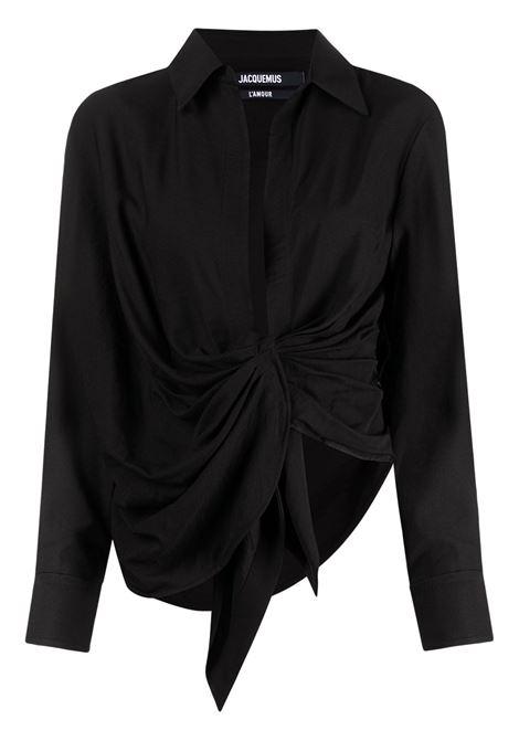 Camicia bahia con nodo in nero - donna JACQUEMUS | 213SH0021020990