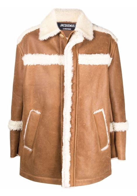 Beige fur-trimmed concealed coat - men  JACQUEMUS | 216C01011390830