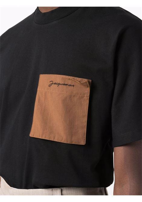 Black patch-pocket logo T-shirt - men  JACQUEMUS | 216JS0042290990
