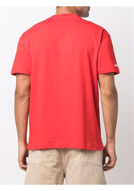 Toutou-print short-sleeve T-shirt in red - men  JACQUEMUS | 216JS10923104AE