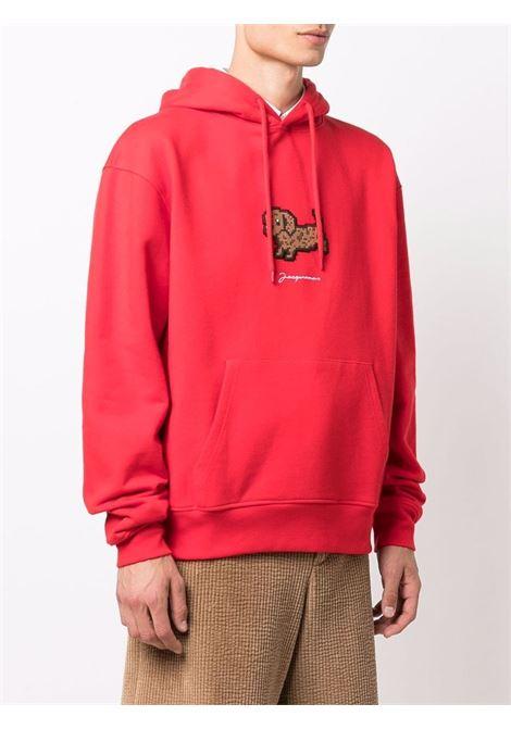 Patch-detail drawstring sweetshirt in red - men  JACQUEMUS | 216JS2012120470