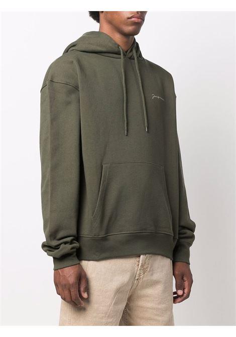 Le sweatshirt brodé in khaki green - men  JACQUEMUS | 216JS3002120580