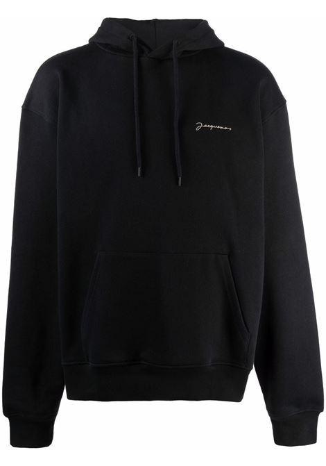 Logo-embroidered drawstring sweetshirt in black - men  JACQUEMUS | 216JS3002120990