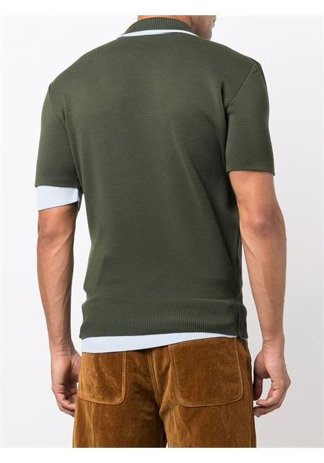 Layered fine-knit polo shirt in dark green and pale blue - men  JACQUEMUS | 216KN0022080590