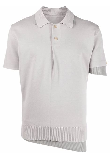 Layered fine-knit polo shirt in light grey - men  JACQUEMUS | 216KN0022080910