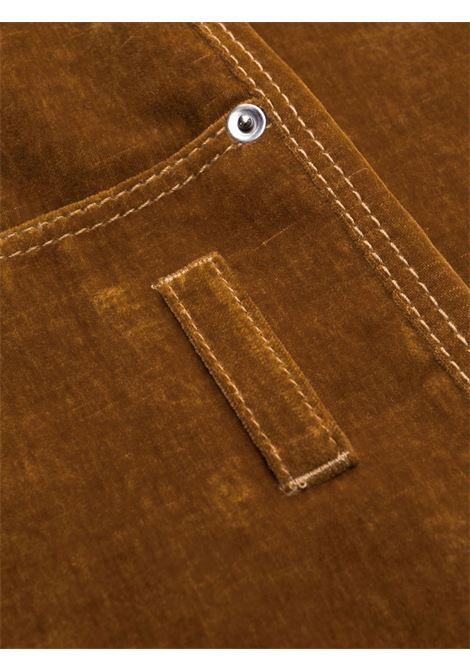 Straight-cut velvet-effect trousers in cognac brown - men  JACQUEMUS | 216PA0041110850