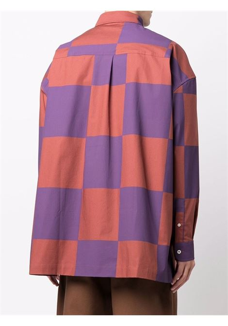 Brown and purple Le Toutou checked shirt - men  JACQUEMUS | 216SH0041090060