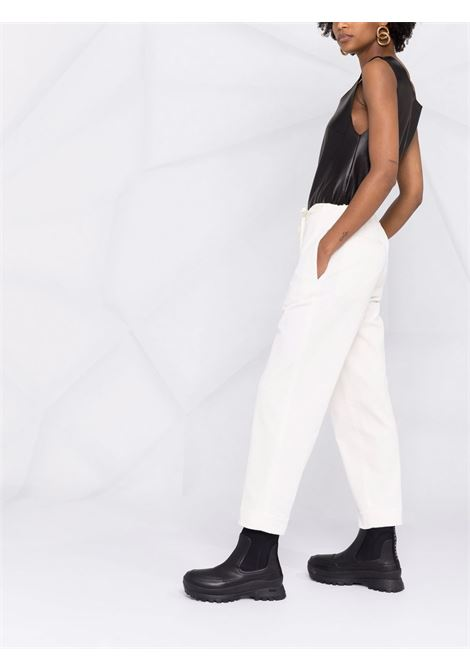 White cropped drawstring trousers - women JIL SANDER | JPPT310550WT243014B103