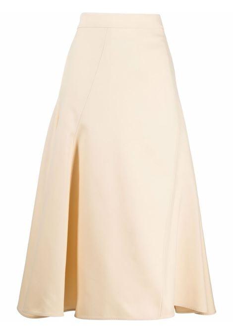 Mid skirt with medium length light beige- women JIL SANDER | JSCT350802WT470300270