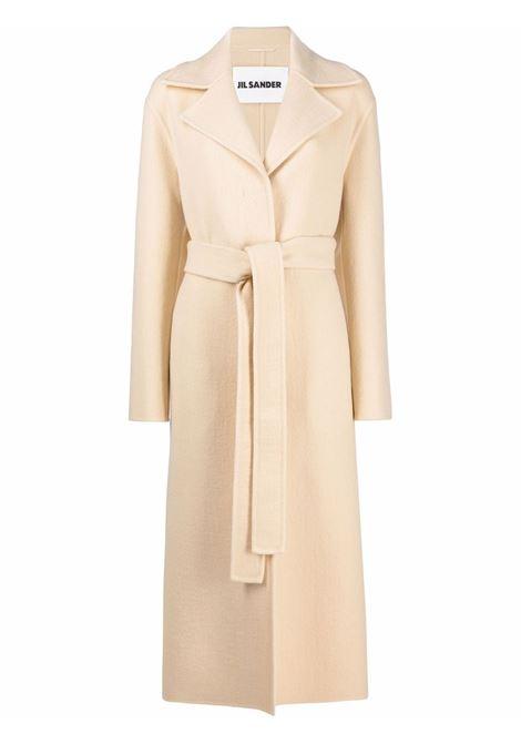 Belted double-breasted coat in beige - women JIL SANDER | Outerwear | JSPT120285WT200603261