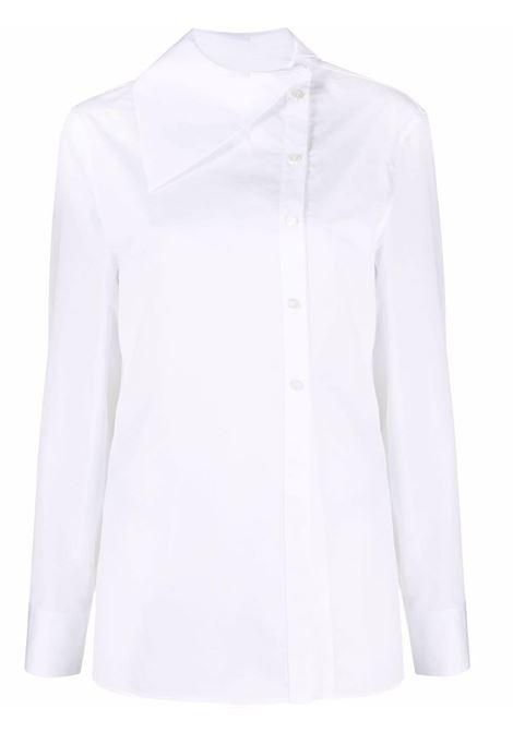 Button-down asymmetric shirt in white - women  JIL SANDER | Shirts | JSPT602105WT245500100