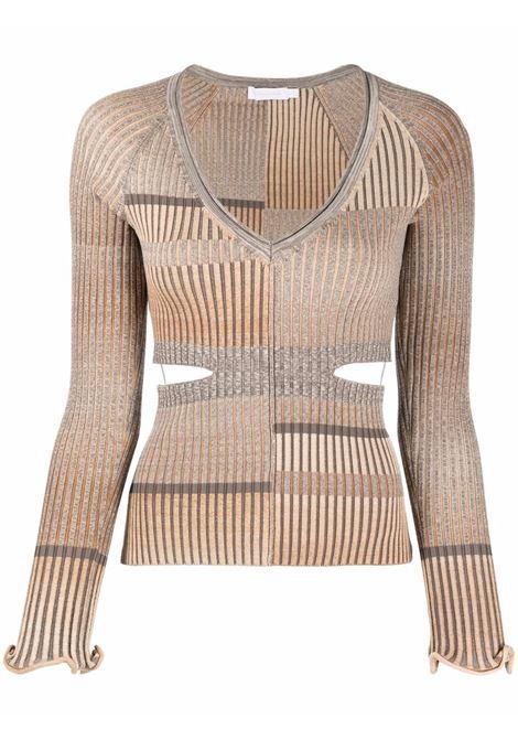 Striped-rib cut-out jumper in espresso - women  JONATHAN SIMKHAI   4212063KESPRSSSTRP