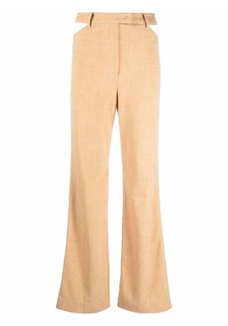 High-waisted straight leg trousers in butterscotch brown - women  JONATHAN SIMKHAI   4214078NBTTRSCTCH