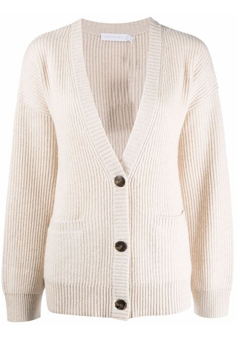 Ribbed-knit cardigan in parchment - women  JONATHAN SIMKHAI   4216026KPRCHMNT