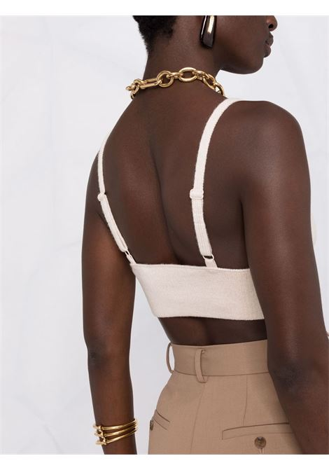 Ribbed knitted top in parchment - women  JONATHAN SIMKHAI   4218031KPRCHMNT